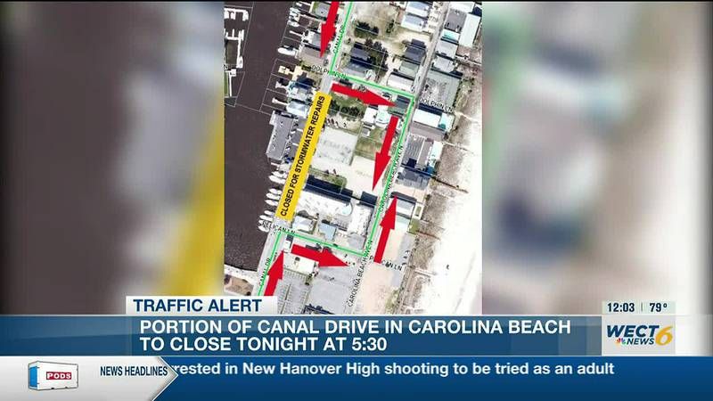 TRAFFIC ALERT: Portion of Canal Drive in Carolina Beach to close for stormwater repairs