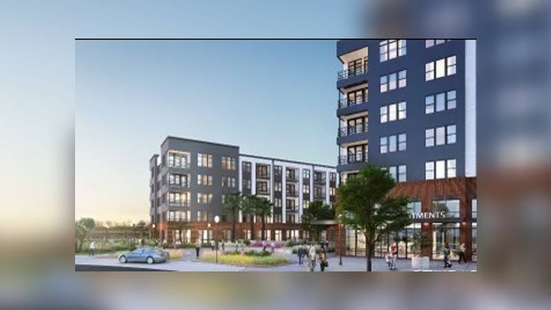 The mixed-use development comprises residential, retail, and a parking deck, and will be known...