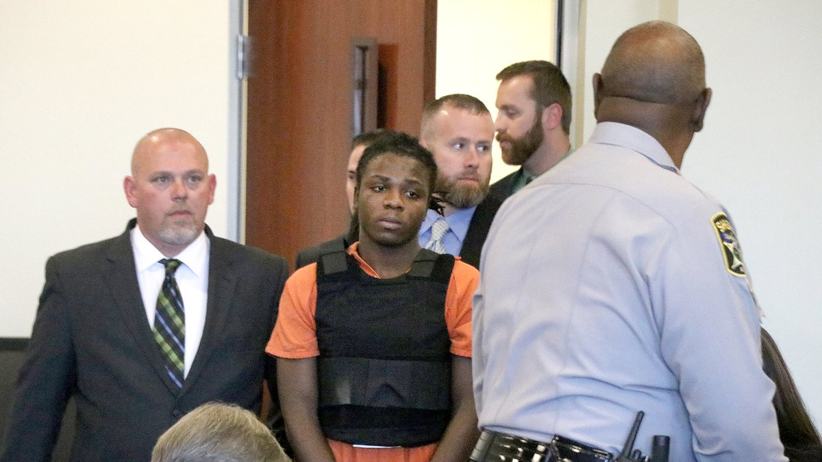Chauncy Askew, wearing a bulletproof vest, enters a Columbus County courtroom Friday afternoon....