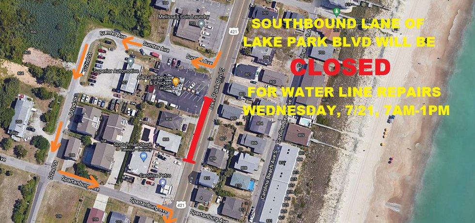 Lake Park Blvd road closure in Carolina Beach for Wednesday, July 21