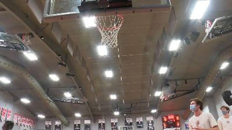 High School basketball scoreboard
