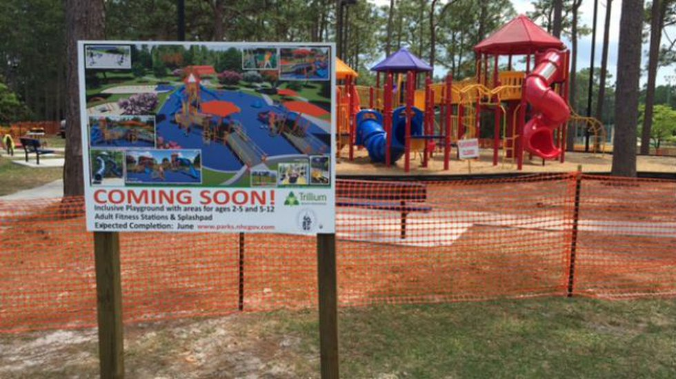 A $750,000 makeover of the playground area at Hugh MacRae Parkis under way. (Source: WECT)