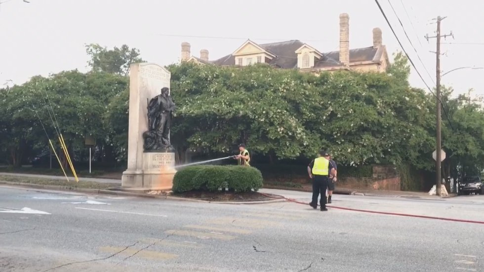 The Third Street statue when it was previously vandalized last July.
