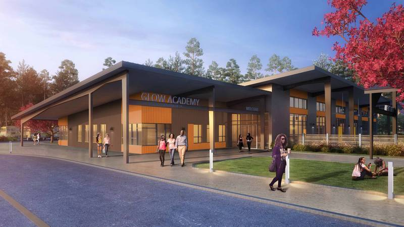 An artist rendering of the new GLOW Academy in Wilmington.