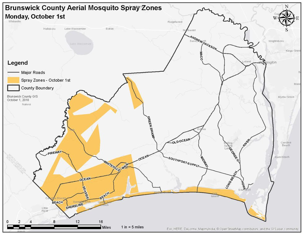 Aerial mosquito spraying will take place Monday night in the yellow shaded areas.