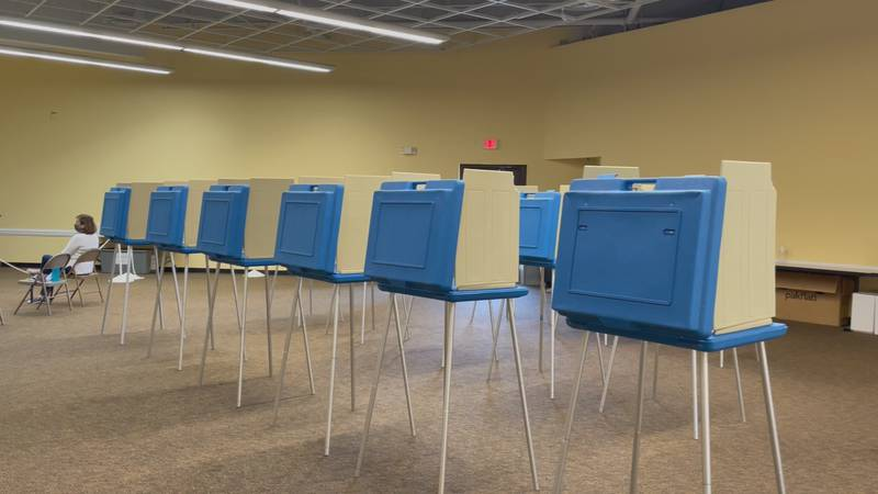 Voting booths inside the New Hanover County Public Library along Military Cutoff Rd.