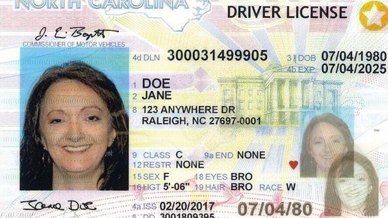 A North Carolina REAL ID looks like a standard driver's license or ID card, except for the gold...