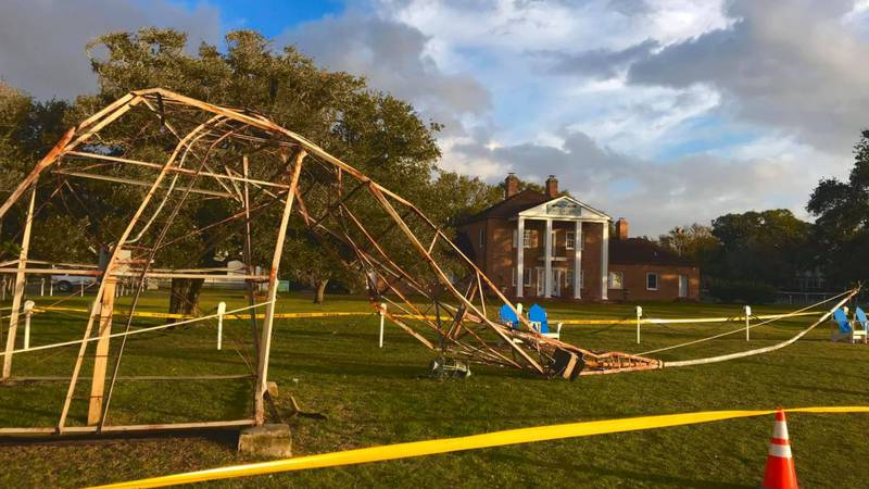 Southport's historic weather tower toppled over and was severely damaged a storm passed through...
