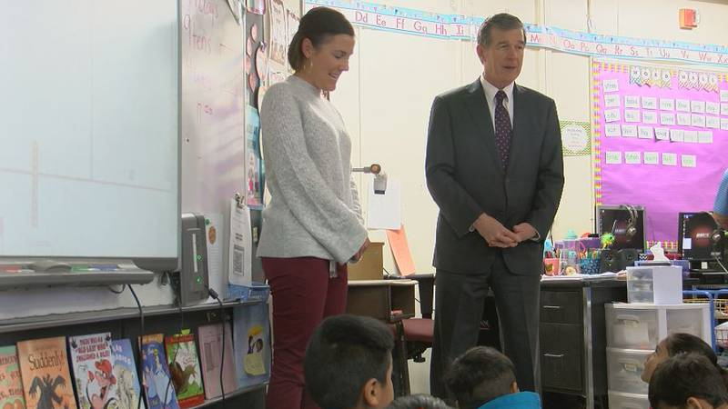 Governor Roy Cooper tours damage at a Mary C. Williams Elementary Tuesday