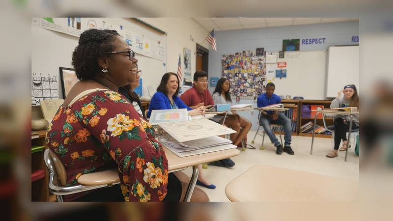 Laney High School students discuss their experiences in Richelle Dombroski's teacher cadet...
