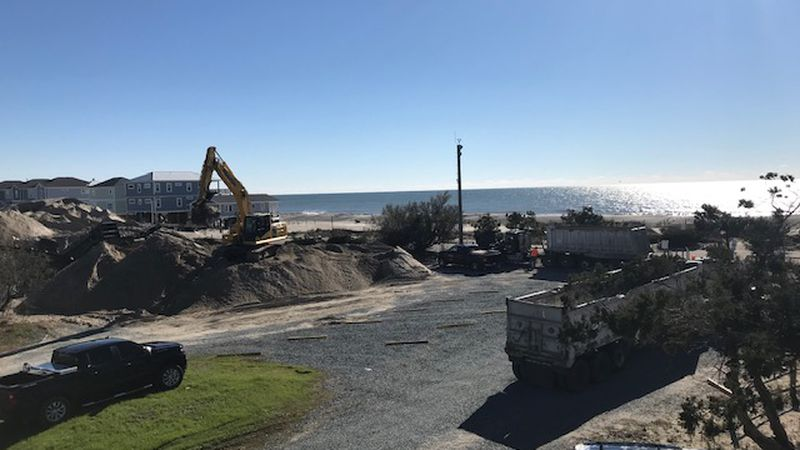 Sand sifting and redistribution began on Oak Island the first week of Dec. 2020.
