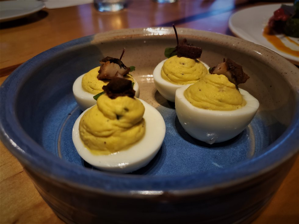 Plenty of restaurants serve deviled eggs, but these bites boasted lovely smoked mackerel,...