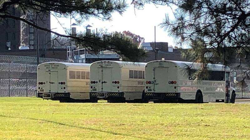 Buses parked at Piedmont Correctional Institution on Tuesday, November 24.