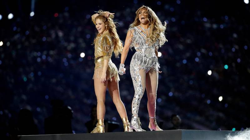 Shakira, left, and Jennifer Lopez perform during halftime of the NFL Super Bowl 54 football...