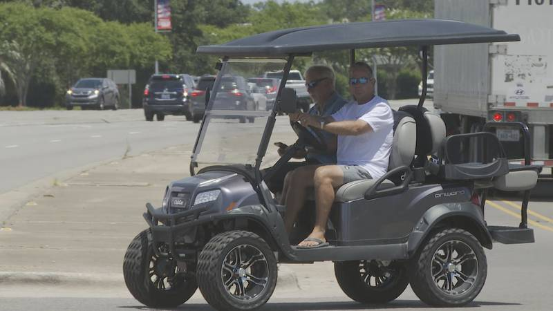 """Golf carts and """"low-speed vehicles"""" are common sights in the coastal areas of southeastern..."""