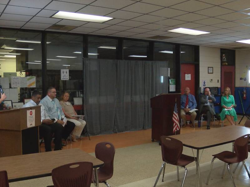 Chadbourn town council candidates participate in a forum on Wednesday night.