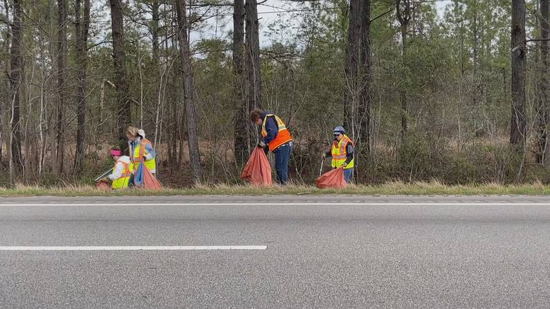Volunteers working to clean up litter along the highway