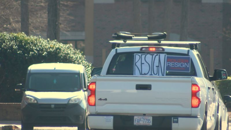 A drive-by protest was held outside the district office of Rep. David Rouzer (R-NC07) on Jan....