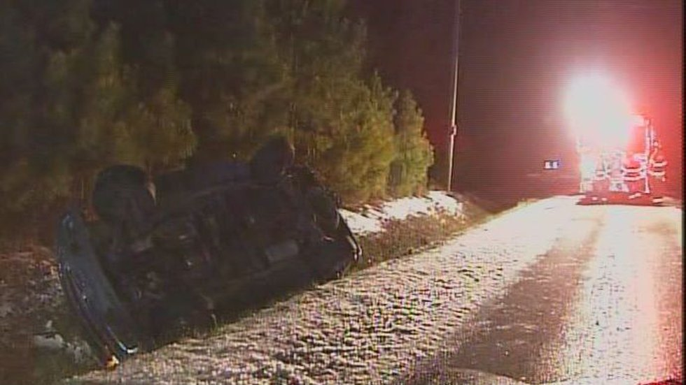 Two people were in the vehicle at the time of the accident, and one was able to get out on...