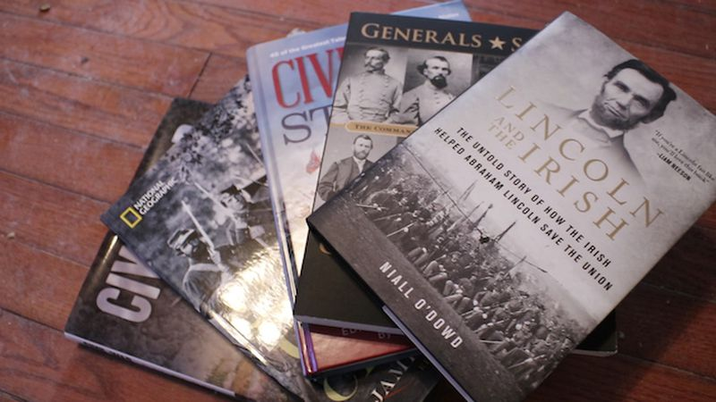 Civil War books Margaret received from her co-workers to help her start rebuilding her...