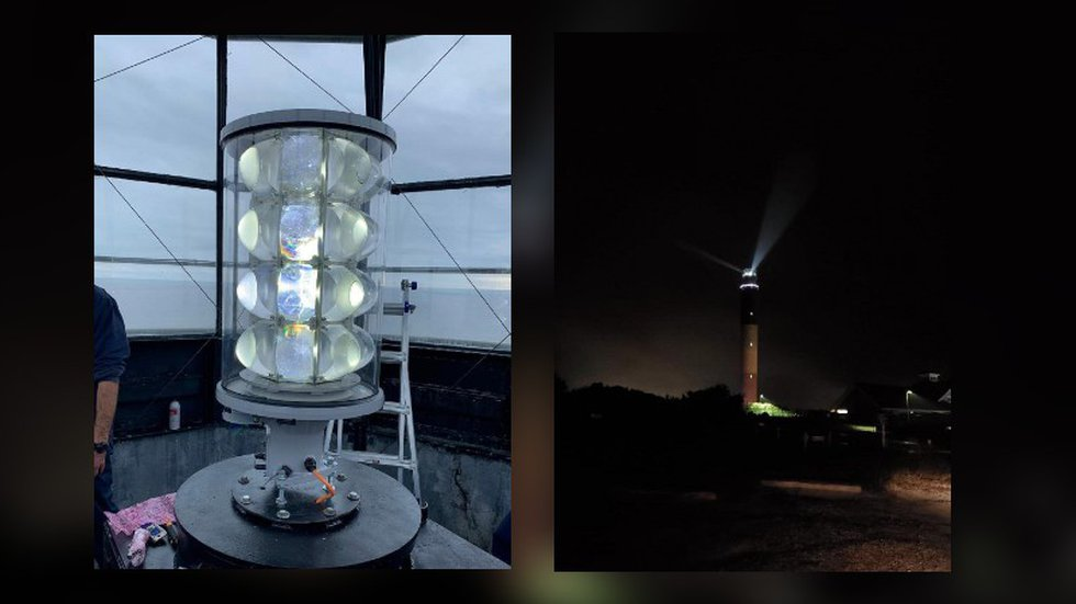 The Coast Guard lit a first of its kind, LED-based, rotating beacon at Oak Island Lighthouse on...