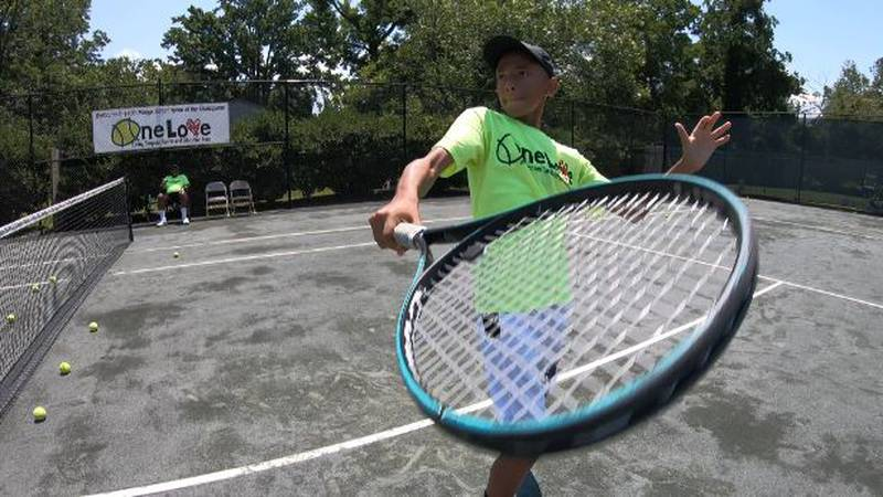 Gabriel Baldwin works on his tennis game at One Love Tennis in Wilmington, NC.