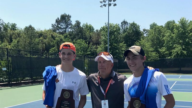 Griffith Waren (pictured far left) and Westley Gaines (pictured far right) won the 3A men's...