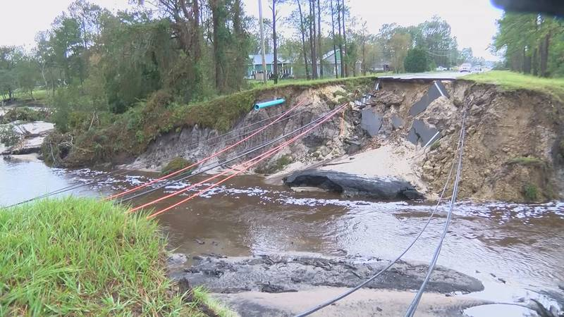 When Hurricane Florence caused the dams to break in Boiling Spring Lakes, several roads were...