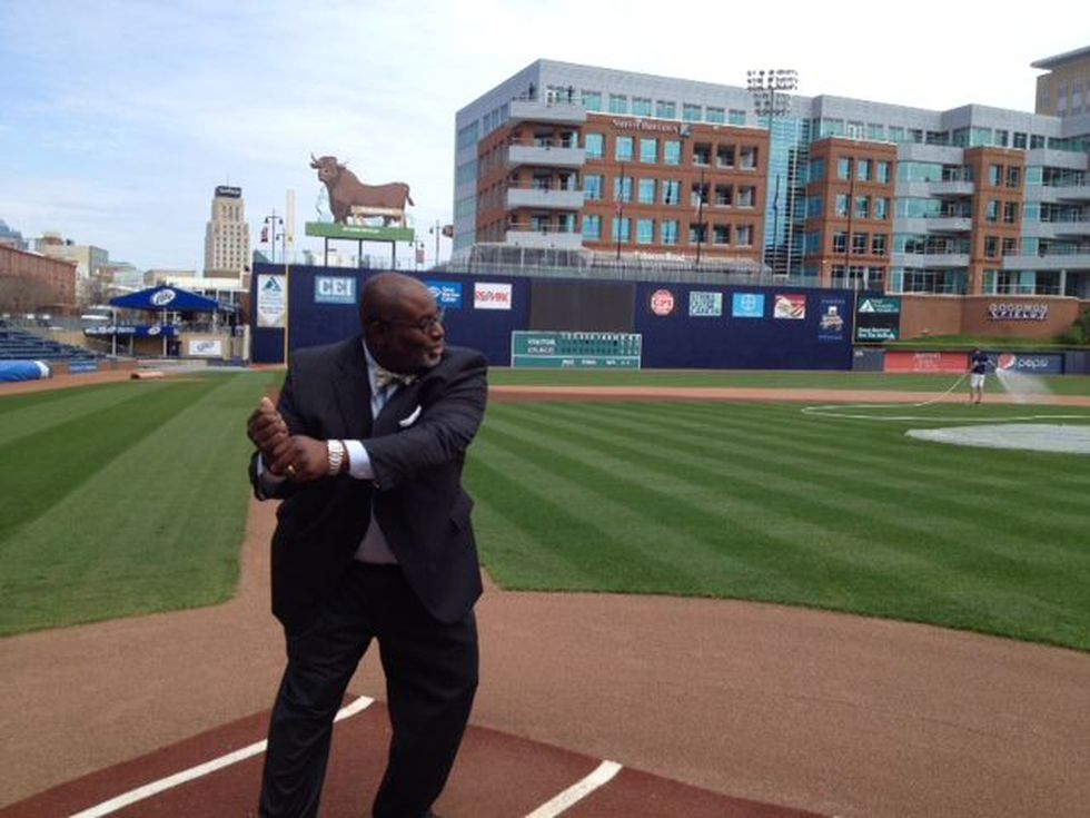 Commissioner Barfield at home plate