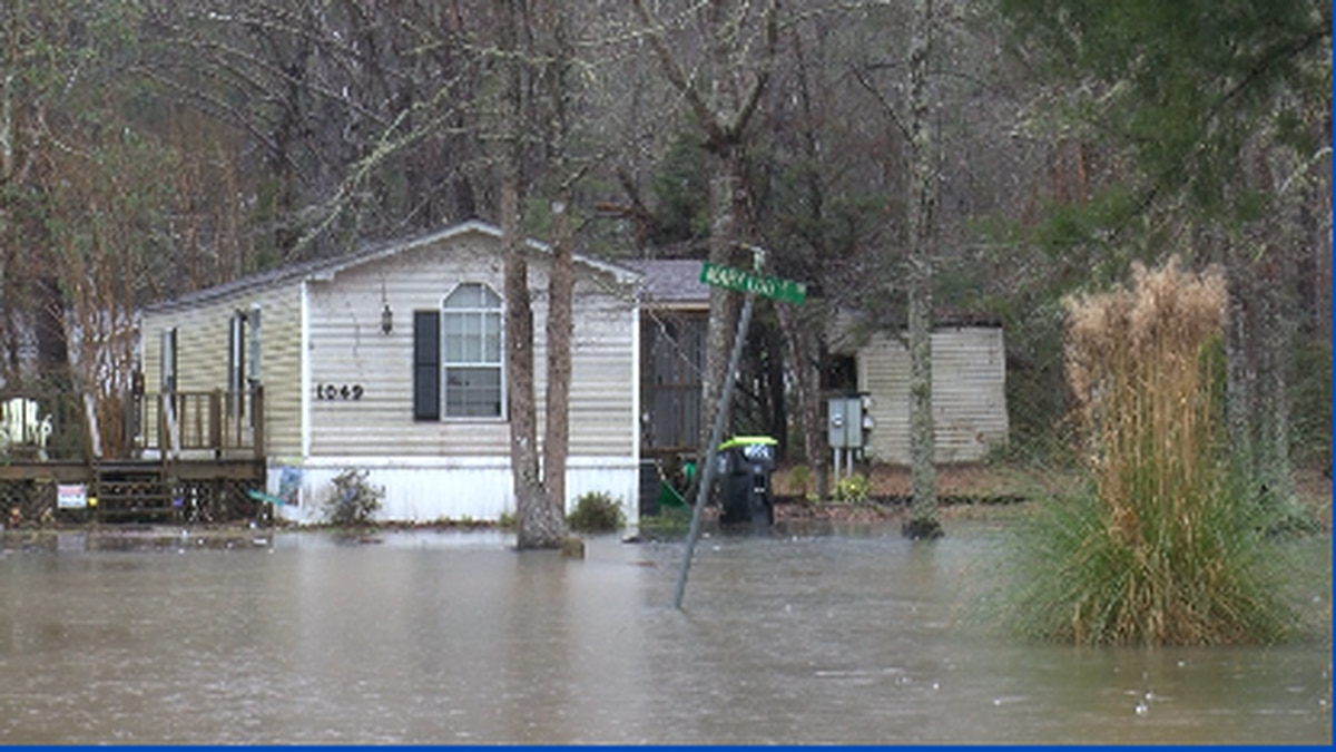 A neighborhood experiencing flooding in Supply North Carolina.