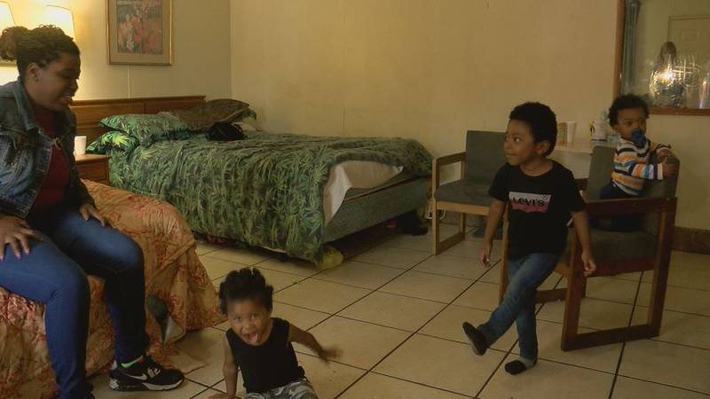 Edwards and her three boys remain living in a cramped motel after Hurricane Florence (Source:...