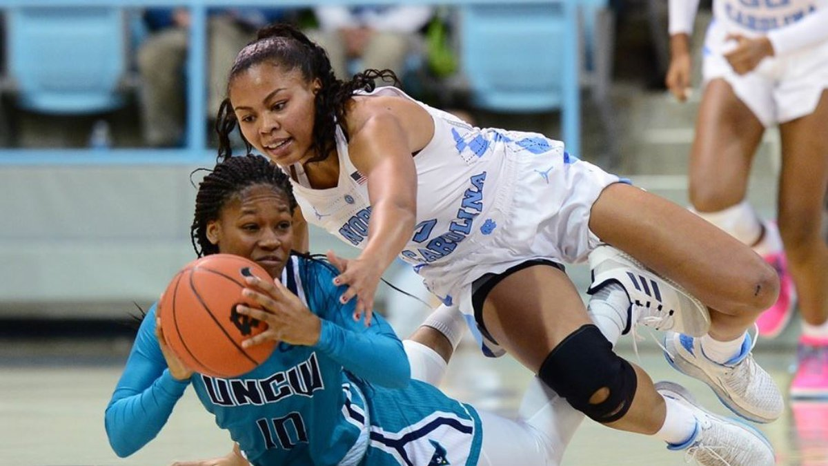 UNCW's Ahyiona Vason looks to pass the ball as North Carolina's Stephanie Parker defends on...