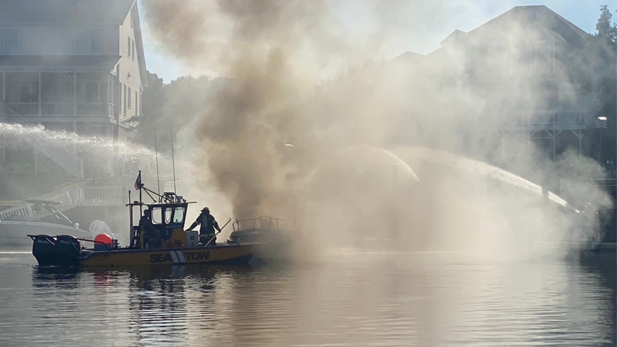 Crews respond to boat fire at Inlet Point