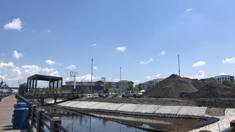Construction still underway at Riverfront Park, less than 3 weeks away from grand opening.