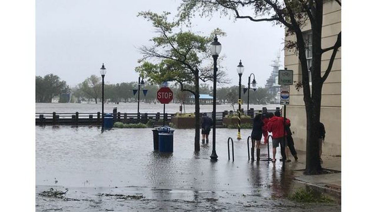 Water Street in Wilmington flooded during Hurricane Florence.