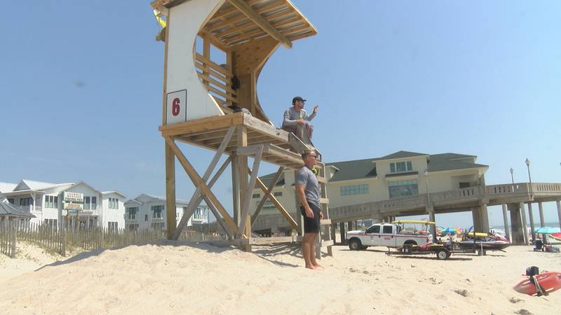 Lifeguards watch the water at Wrightsville Beach