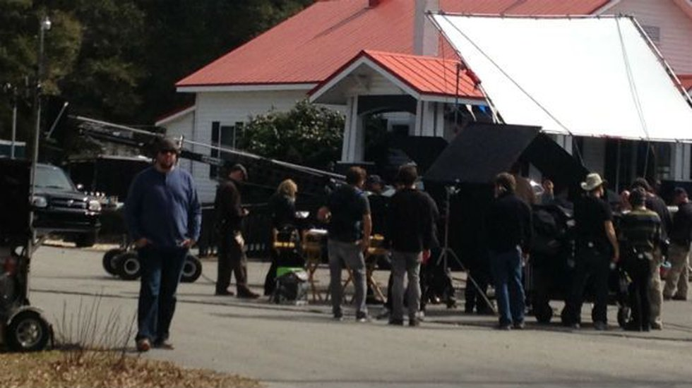 """Film crews in Southport working on """"Under the Dome."""""""