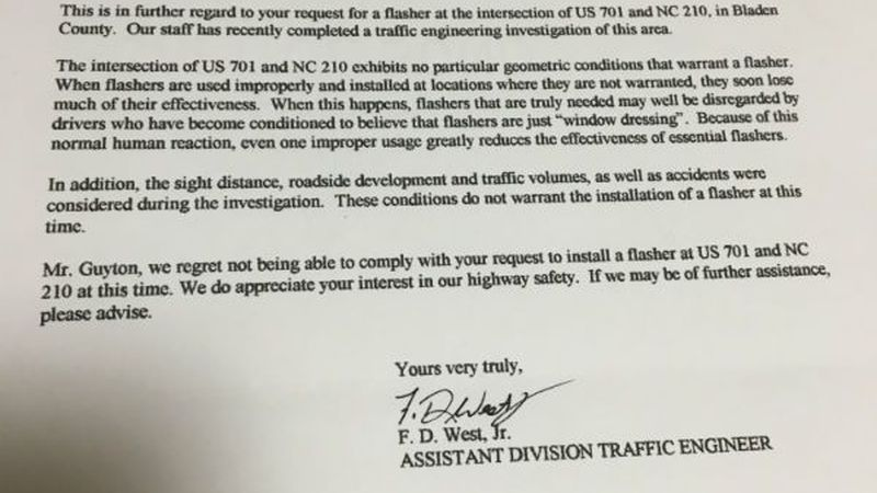 A picture of the letter from the NCDOT acknowledging Randy and Connie Guyton's concerns about...