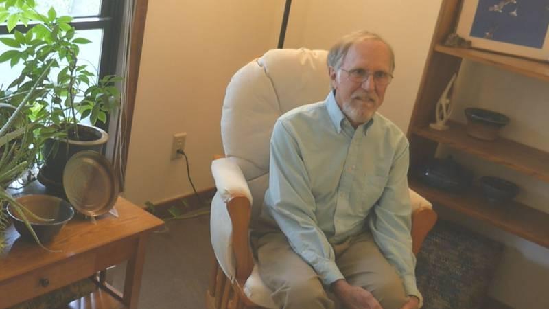 Joseph Kertesz discusses his American Mental Health Counselors Association award Wednesday in...