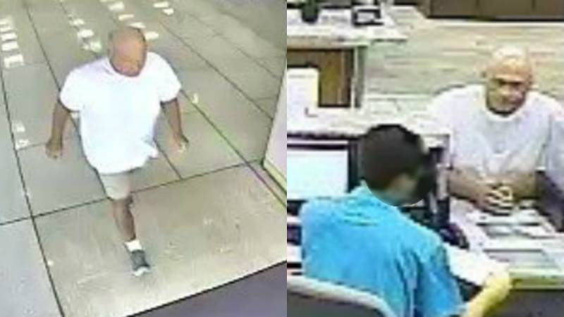 Surveillance video of the suspect in Tuesday morning's bank robbery in downtown Wilmington.