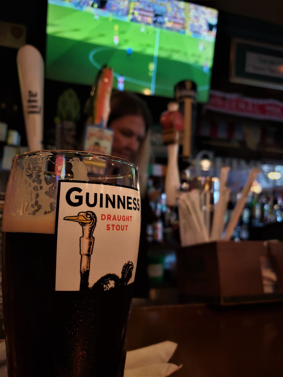A cold Guinness, poured perfectly into a proper pint glass...a must have for any respectable...