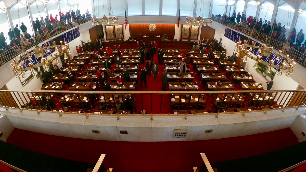 View from the gallery of the NC House chamber as members prepare for the new 2019 session to...