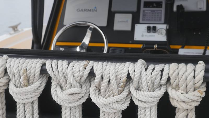 Ropes hang from on board a Sea Tow boat Wednesday in Wrightsville Beach.