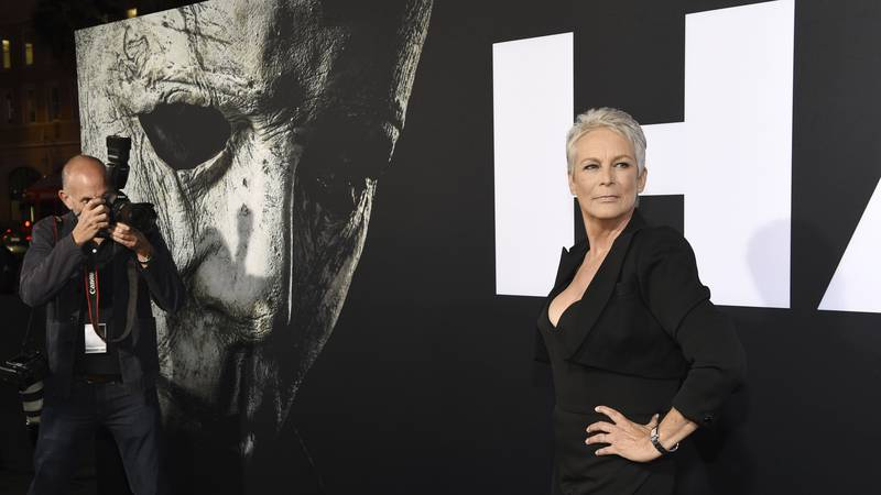 """Jamie Lee Curtis, star of """"Halloween,"""" arrives at the premiere of the film at the TCL Chinese..."""