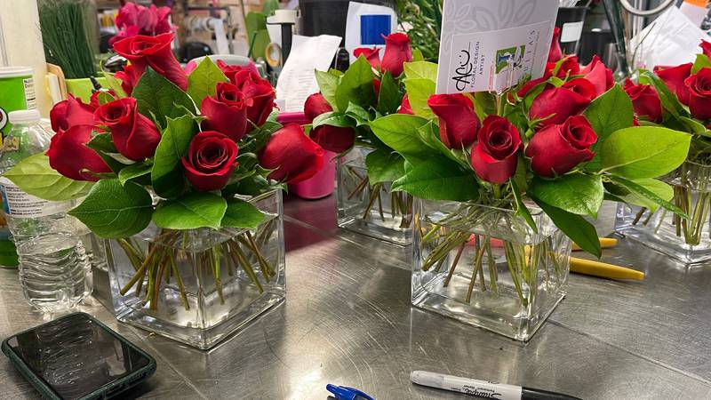 Flowers ready for Valentine's Day