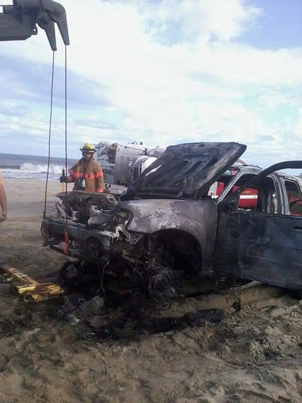 Emergency crews responded to a car on fire at Fort Fisher. (Source: Chance Murray)