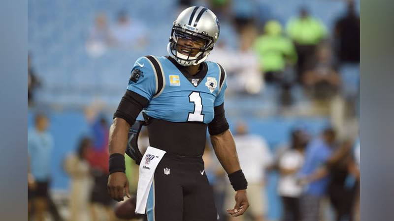 Carolina Panthers quarterback Cam Newton (1) warms up prior to an NFL football game against the...