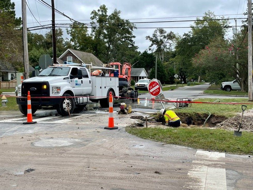 Crews are making repairs after a water main was damaged at the intersection of Audubon...
