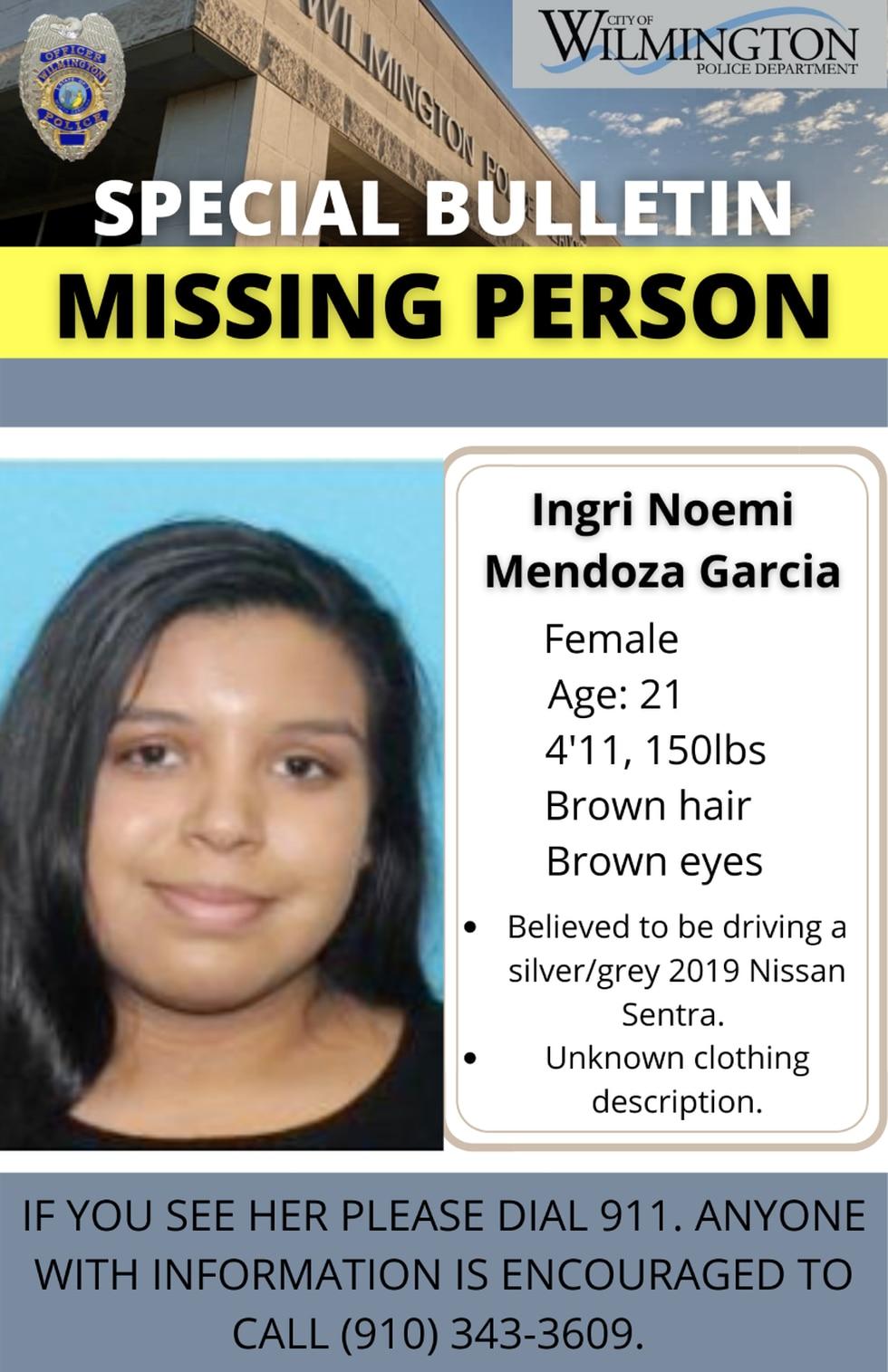 Missing person: Ingri Noemi Mendoza Garcia