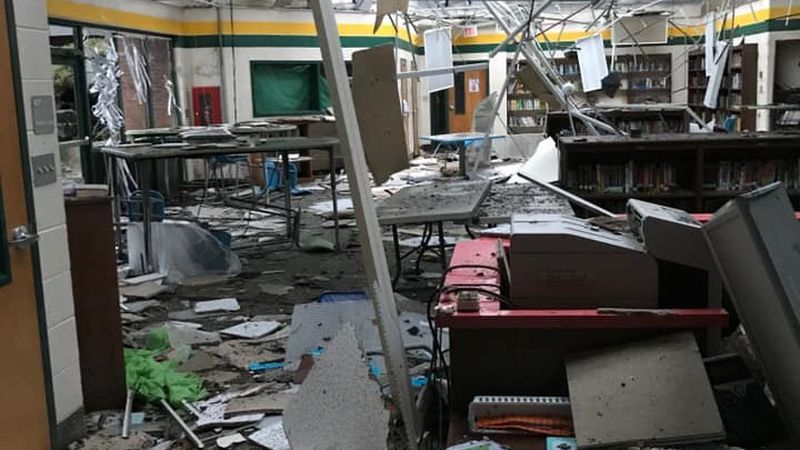 Severe weather swept through the Midlands on Saturday night, causing this damage at North...
